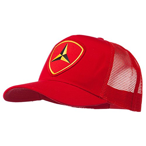 E4hats 3rd Marine Division Patched Mesh Cap - Red OSFM (Marine Hat Division)
