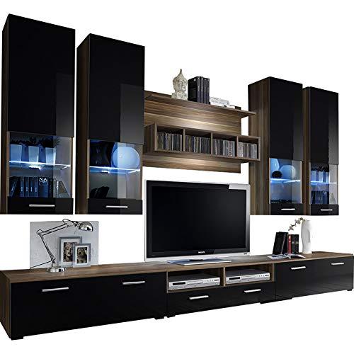 Dorido Wall Unit TV Contemporary Furniture/Modern Entertainment Center with LED lights Color (Plum & Black) ()