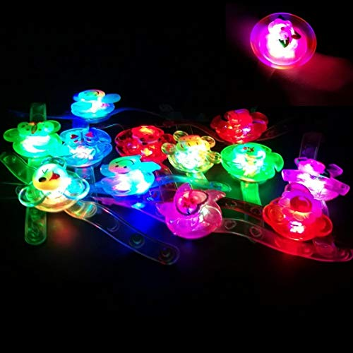 HongFu 12pcs Flashing LED Light Up Fidget Toys Wrist Band Strap Manual Rotating Soft Bracelet Glow in The Dark Party Favors Supplies for Kids (Wrist Band) -