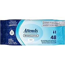 Attends Unscented Washcloths for Adult Incontinence Care, hypoallergenic, Latex and Alcohol Free , 48 Count (Pack of 12)