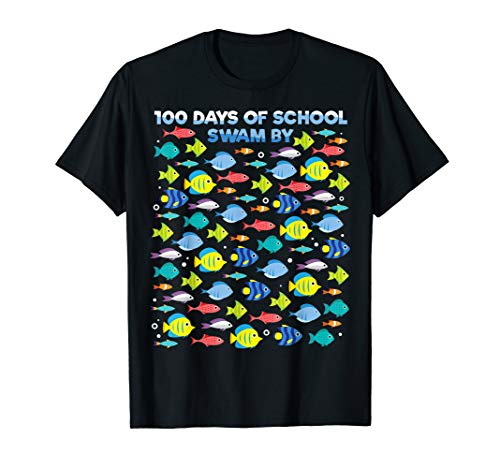 Fish 100 Days Of School Shirt Fisher Teacher Boy Girl Gift]()