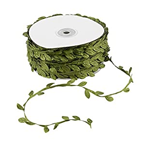 Leaf Ribbon - 109-Yards Leaf Trim Ribbon, Green Wall Hanging Leaves Decor, Artificial Plants Foliage Trim DIY Craft Supplies for Parties, Weddings, Home and Garden Decorations 86