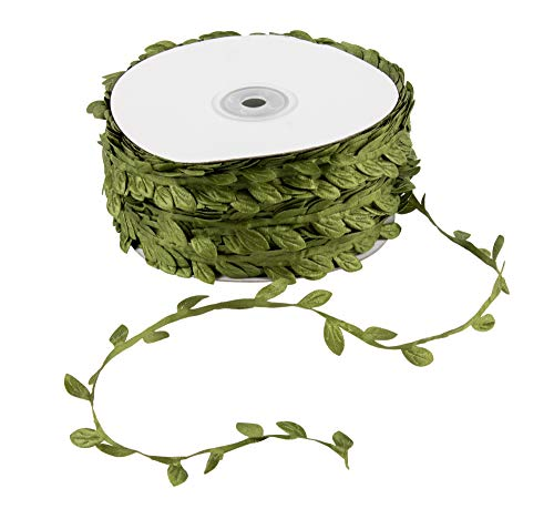 Juvale Leaf Ribbon - 109-Yards Leaf Trim Ribbon, Green Wall Hanging Leaves Decor, Artificial Plants Foliage Trim DIY Craft Supplies for Parties, Weddings, Home and Garden Decorations from Juvale