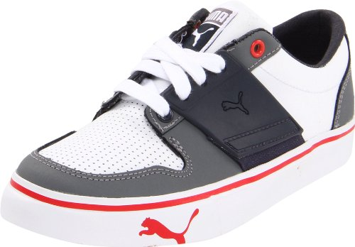 Puma El Ace 2 Lace-Up Sneaker (Little Kid/Big Kid),White-Steel Grey-puma red,5.5 M US Big Kid