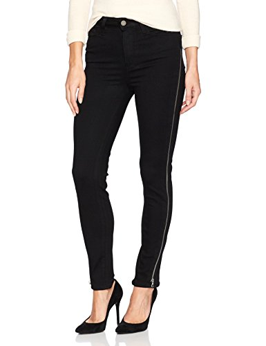 PAIGE Women's Margot Ankle Jean, Black Shadow with Twisted Seam Zips, 30 -