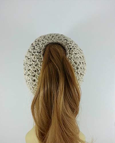 79c49f8b37cd1 Ponytail Hat Messy Bun Beanie for Women Oatmeal Alpaca Merino Wool Made in  USA
