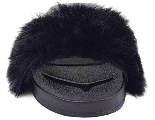 MaxMuxun Chaussures Femme Sandales Plats Fourrure Faux EU 36-41 Noir vIY6cc