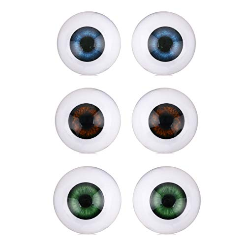 20mm Half Round Acrylic Doll Safety Eyes Plastic Realistic Eyeballs Craft for DIY Reborn Baby Dolls Bear Toys Making,8pcs,Mixed Color from Queenbox