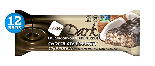 NuGo Dark Chocolate Coconut, 12g Vegan Protein, 200 Calories, Gluten Free, 12 Count