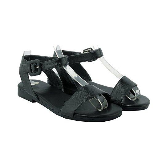AalarDom Mujer Puntera Abierta Mini Tacón Pu Sólido Sandalias de vestir Negro