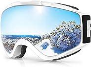Ski Goggles, Findway Anti-UV, OTG Design & Anti-Fog Snow Goggles for Adult Y
