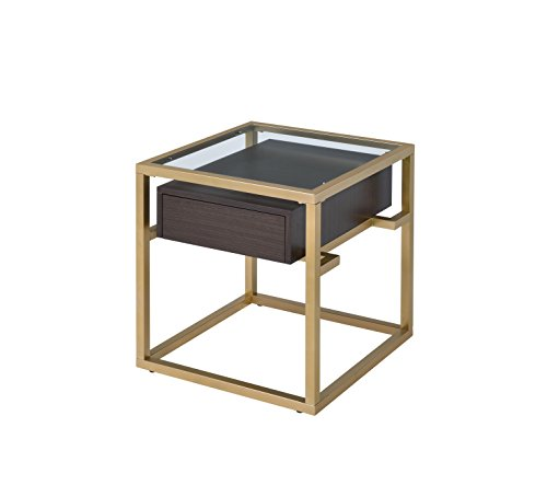 ACME Furniture 83342 Yumia Gold End Table with Glass Top