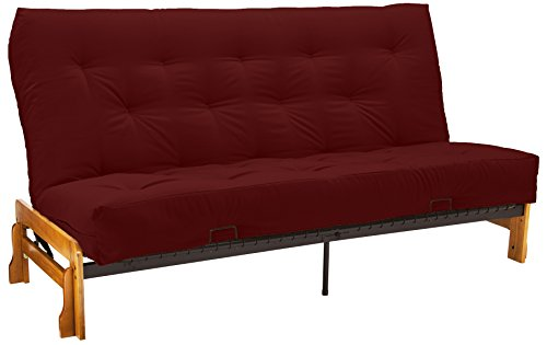 "Au Natural 8"" All Cotton Loft Cotton Filled Futon Mattress, Twill Red, Twin"