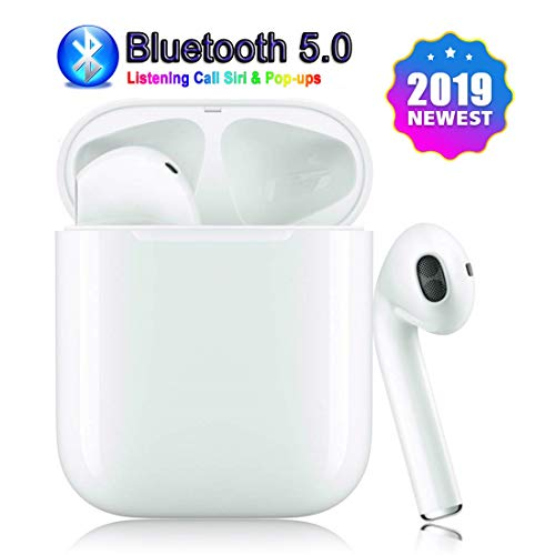 Bluetooth 5.0 Wireless Earbuds with【24Hrs Charging Case】 Waterproof Stereo Headphones in-Ear Built-in Mic Headset Premium Sound with Deep Bass for Sport Earphones Apple Airpod Wireless Earbud (White)