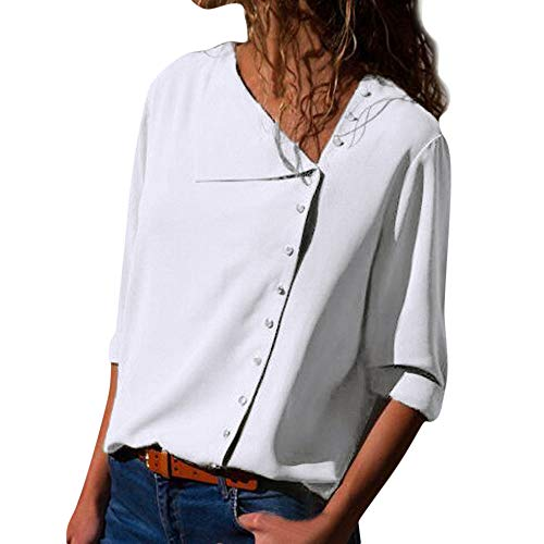 Wintialy Womens Casual Lapel Neck T-Shirt Ladies Long Sleeve Buckle Blouse Tops (XX-Large, White)]()