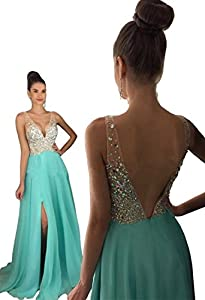 Rhinestone Beaded Evening Dress A-line Prom Dress Chiffon and Tulle Party Dress