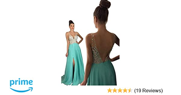 600723ca90 Half Flower Bridal Rhinestone Beaded Evening Dress A-line Prom Dress  Chiffon and Tulle Party Dress Mint Green at Amazon Women s Clothing store