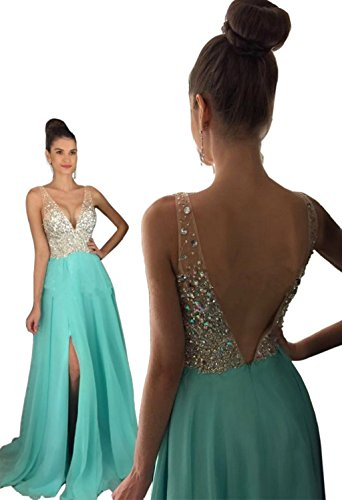 Split Strapless Deep V Neck Evening Dress Heavy Beaded Chiffon Skirt Prom (Beaded V-neck Skirt)
