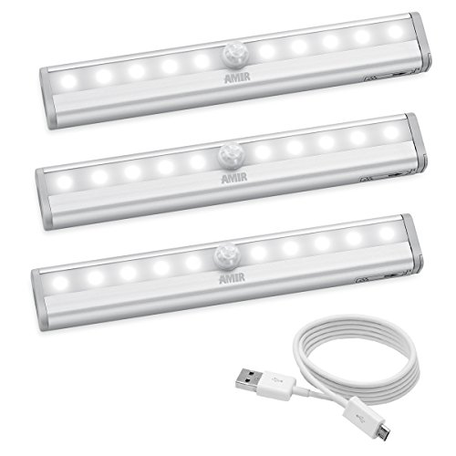 AMIR 10 LED Motion Sensing Closet Lights, 3 Pack, DIY Stick-on Anywhere, Wireless Night Light for Cabinet, Closet, Wardrobe, Stairs, Step Light with Magnetic Strip (USB Rechargeable) (Push Lights For Closet)