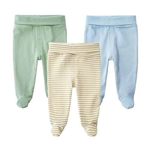Infants Footed Pant - SYCLZ Baby 3-Pack 100% Cotton High Waist Footed Pants Casual Leggings 0-12M (0-3M, B)