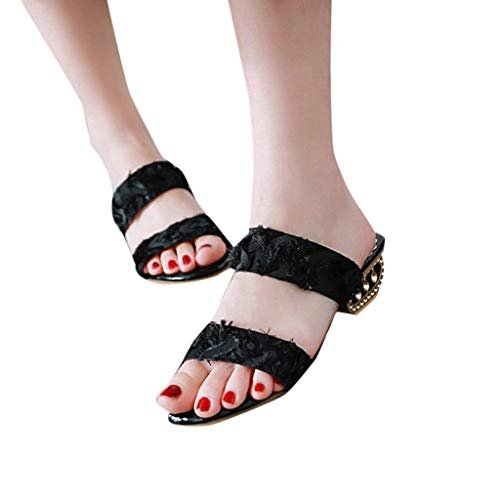 Xinantime Promotional! Summer Open Toe Shallow Breathable Sandals Feather Stitching Square Slippers Women