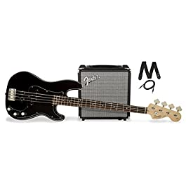 Squier by Fender PJ Electric Bass Guitar Beginner Pack with Rumble 15 Amplifier – Black Finish