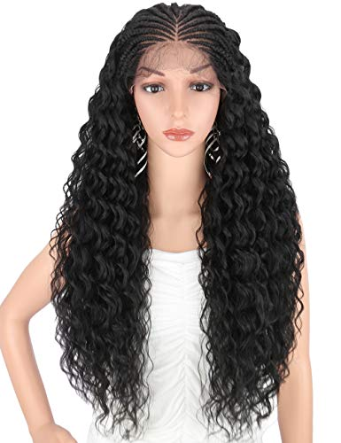 """Kalyss 13X4"""" Full Tops 100% Hand Braided Lace Frontal Braids Wigs with Baby Hair for Black Women 100% Kanekalon Synthetic Black Lightweight Swiss Soft Lace Front Braid Out Curly Wavy Wigs 28 Inch"""