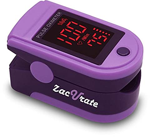 Zacurate Pro Series CMS 500DL Fingertip Pulse Oximeter Blood Oxygen Saturation Monitor with silicon cover, batteries and lanyard (Royal (Pulse Oximeter Digital)