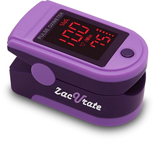 Zacurate Pro Series CMS 500DL Fingertip Pulse Oximeter Blood Oxygen Saturation Monitor with silicon cover, batteries and lanyard (Royal Purple)