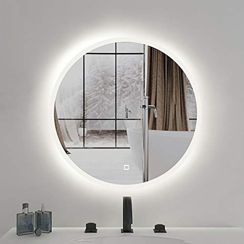Round LED Wall Mounted Vanity Bathroom Mirror, with Touch Button, LED Backlit, -