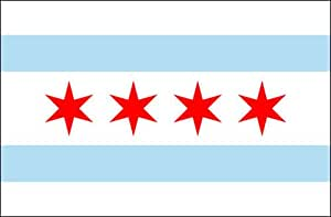 Chicago City Flag 3ft x 5ft Nylon - Outdoor