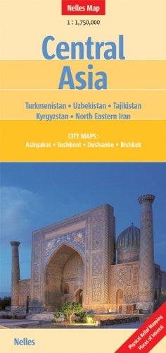 Central Asia 1 : 1 750 000: Turkmenistan, Uzbekistan, Tajikistan, Kyrgyzstan, North Eastern Iran. City Maps: Ashgabat, Toshkent, Dushanbe, Bishkek. ... Mapping, Places of Interest (Nelles Map)