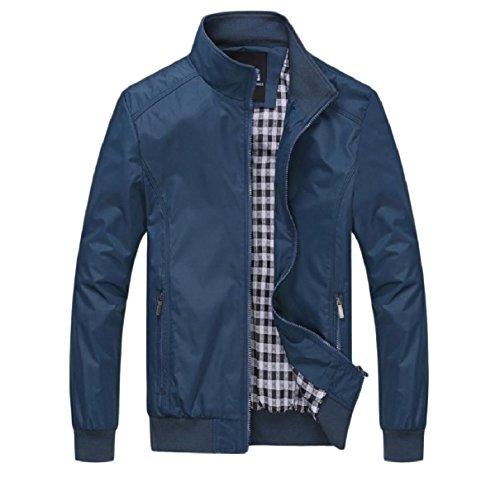 Rkbaoye Blu Autunno D'affari Zip Plus Giacca Uomini size Idoneità Outwear up SrvwEqSx