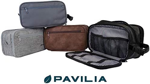 PAVILIA Toiletry Bag for Men, Travel Toiletries Bag   Water-resistant Dopp Kit, PU Leather Shaving Bag Organizer for Toiletry Accessories, Cosmetic, Hygiene, Grooming