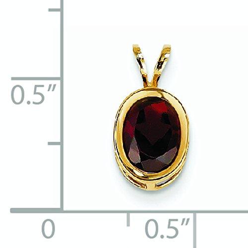 8 x 6 mm 14 carats Grenat ovale-JewelryWeb Pendentif à chaton