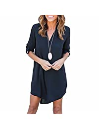 Sexy Women Long Sleeve V Neck Chiffon Casual Dress Solid Plus Size Blouse Tops
