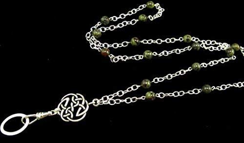 Lanyard Necklace with Dragon Blood Jasper & Celtic Pendant, Silver Lanyard, Gemstone Lanyard, ID Badge Holder, Lanyard Necklace, Celtic