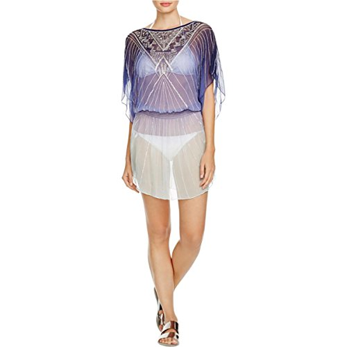 Parker Beach Womens Sheer Beaded Dress Swim Cover-Up Blue M/L