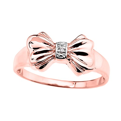 Unique 10k Rose Gold Diamond Ribbon Bow Tie Ring (Size 6)