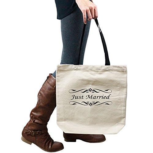 Just Married Bride Groom Wedding Tote Handbag Shoulder Bag (Just Married Tote)