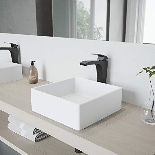 VIGO Bavaro Matte Stone Vessel Sink and Matte Black Blackstonian Faucet Set with Pop-up Drain in Matte White Finish