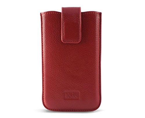 Ksix Gold Elektra - Funda universal de piel extra grande para móvil, naranja Rojo