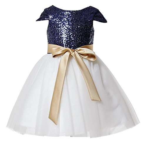 princhar Sequin Tulle Short Girl Dress Little Girls Party Toddler Dress US 8T Navy by princhar