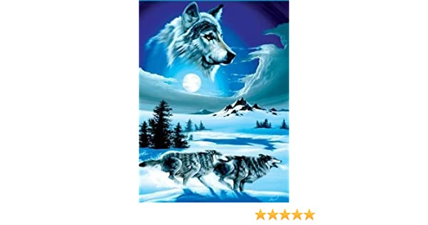 b7142d7efd Amazon.com  Royal Plush Extra Heavy Queen Size Mink Blanket - Wolf Moon  (79