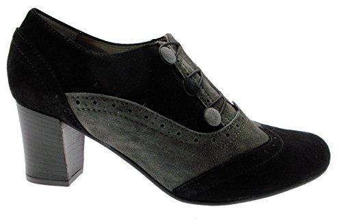 03263 en à gris chaussures cou millésime noir daim femmes rPxwrqZ