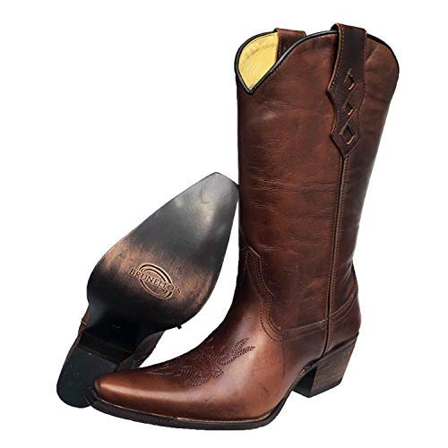 Brunello's Women's Western Cowboy Leather Boot- The Raphy Boot in Whiskey- Made in Brazil