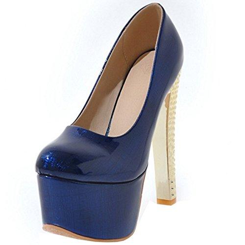 TAOFFEN Women Western Slip on Stiletto Party Platform Court Shoes 442 Blue