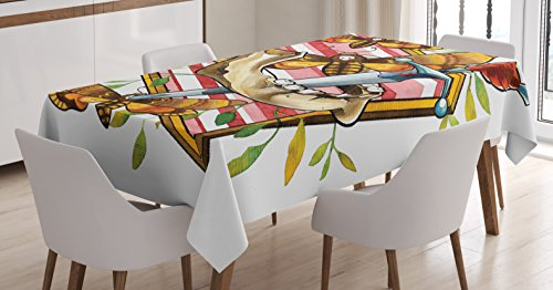 """Ambesonne Trippy Art Tablecloth, Flying Moth with Skull Jaw Bone and Floral Leaves Life Cycle Concept, Rectangular Table Cover for Dining Room Kitchen Decor, 60"""" X 90"""", Orange Brown"""