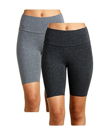 Bike Shorts Women, 2-Pack Spandex Biker Short for Yoga Gym Biking Or Slip (Cotton Lycra Dress)