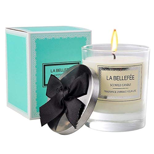 - LA BELLEFÉE Scented Candle 100% All Natural Soy Wax, Cotton Wick with Strong English Pear & Freesia Fragrance Perfect Christmas Candle Set with Bow-Knot Lid - 45 Hours - 1 Pack 7 Oz